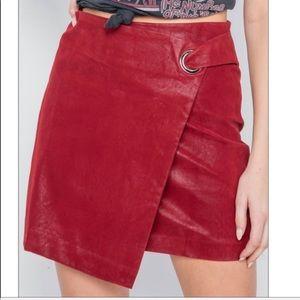 Dresses & Skirts - NWT Vegan Leather Wine Red O-Ring Mini Skirt